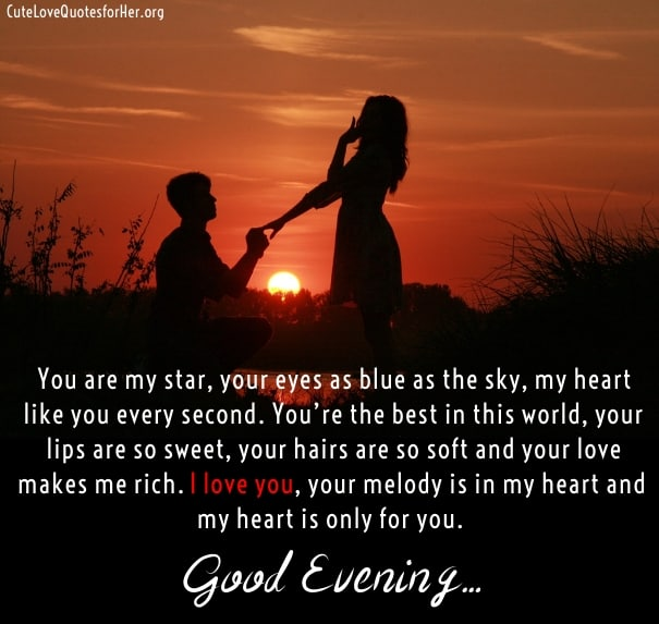 Good evening love quotes pictures for her